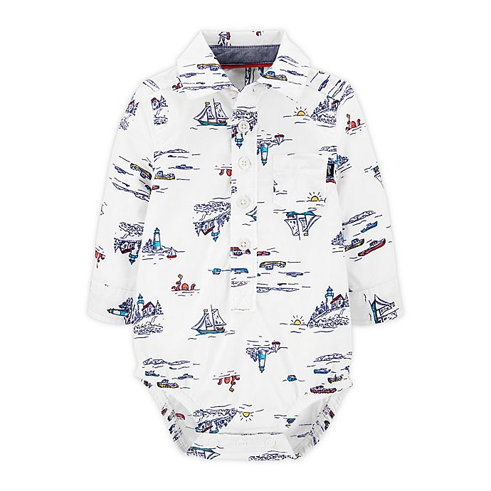 Alternate image 1 for OshKosh B'gosh® Button-Front Bodysuit