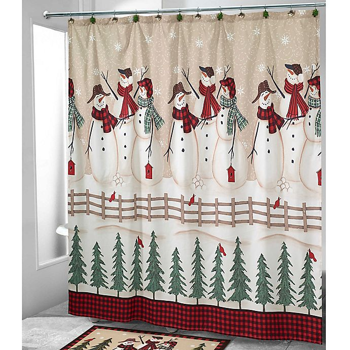 Alternate image 1 for Avanti Snowmen Gathering Shower Curtain