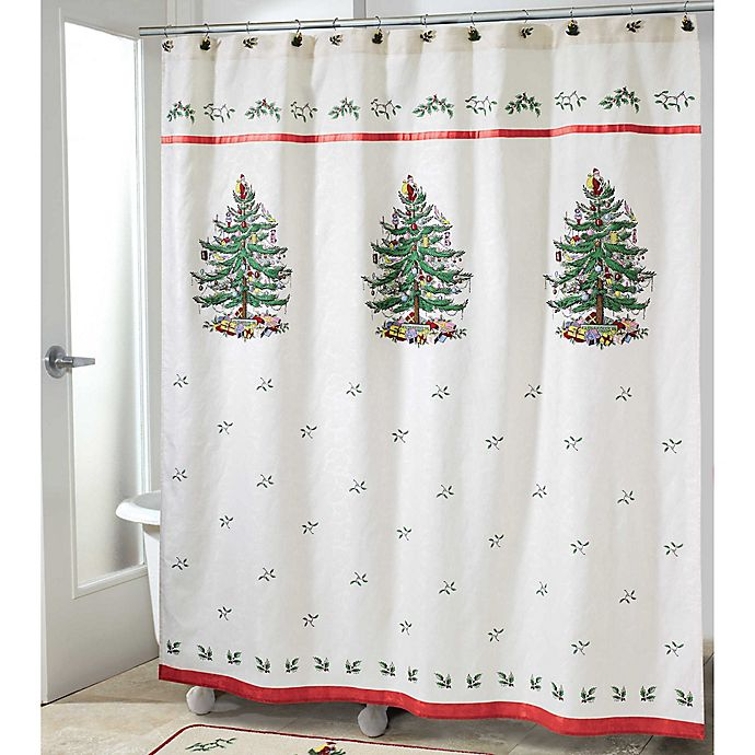 Alternate image 1 for Avanti Spode Tree Shower Curtain Collection in Red