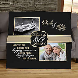 Cheers To Then & Now Anniversary Personalized 60-Inch x 80-Inch Fleece Blanket