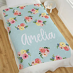 Floral Baby Personalized 60-Inch x 80-Inch Fleece Blanket