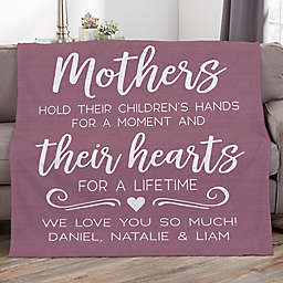 Mothers Hold Their Child's Hand Personalized 60-Inch x 80-Inch Fleece Blanket