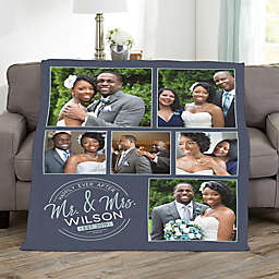 Stamped Elegance Personalized 60-Inch x 80-Inch Fleece Photo Blanket