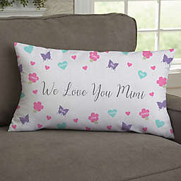 All Our Hearts Personalized 12-Inch x 22-Inch Lumbar Throw Pillow