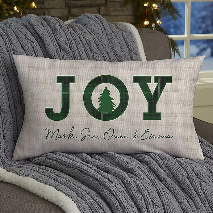 Alternate image 1 for Christmas Plaid Personalized 12-Inch x 22-Inch Plaid Lumbar Throw Pillow