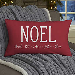 Watercolor Wreath Personalized 12-Inch x 22-Inch Lumbar Christmas Throw Pillow
