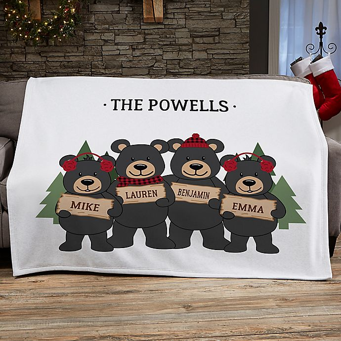 Alternate image 1 for Holiday Bear Family Personalized 50-Inch x 60-Inch Sweatshirt Blanket
