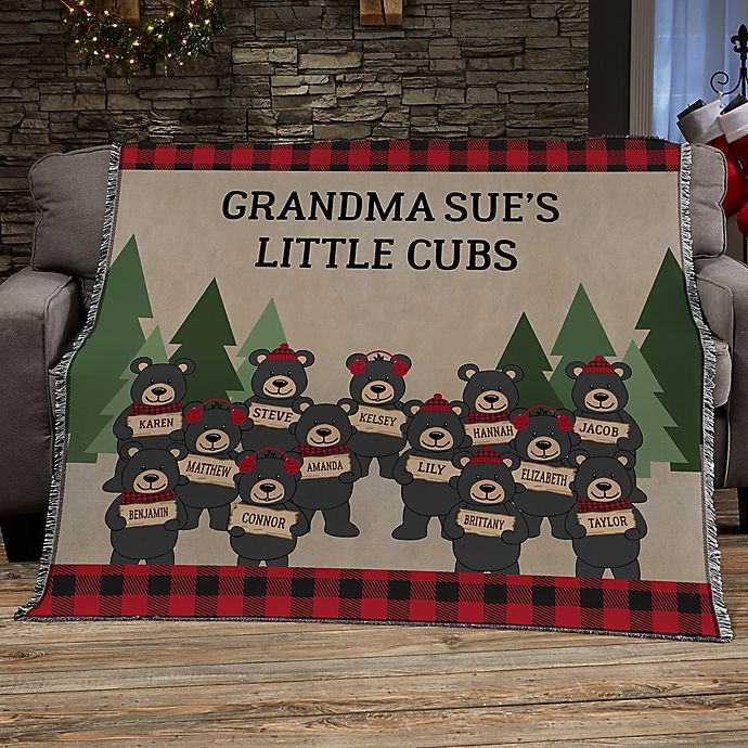 Alternate image 1 for Holiday Bear Family Personalized 56-Inch x 60-Inch Woven Throw