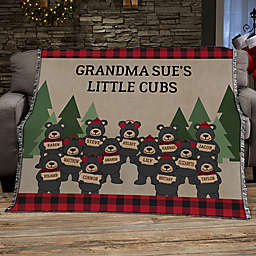 Holiday Bear Family Personalized 56-Inch x 60-Inch Woven Throw
