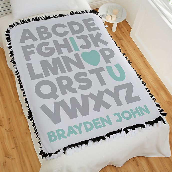 Alternate image 1 for Alphabet Message Personalized 50-Inch x 60-Inch Tie Baby Blanket