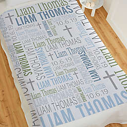 Christening Day For Him Personalized 50-Inch x 60-Inch Sweatshirt Blanket