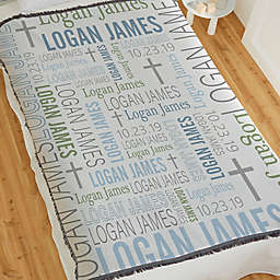 Christening Day For Him Personalized 56-Inch x 60-Inch Woven Throw
