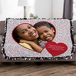 Love You This Much Personalized 50-Inch x 60-Inch Tie Photo Blanket
