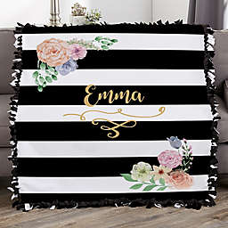 Floral Name Personalized 50-Inch x 60-Inch Tie Blanket