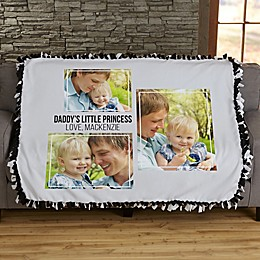 Three Photo Collage Personalized 50-Inch x 60-Inch Tie Blanket For Him