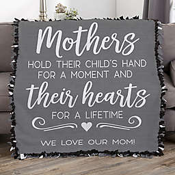 Mothers Hold Their Child's Hand Personalized 50-Inch x 60-Inch Tie Blanket