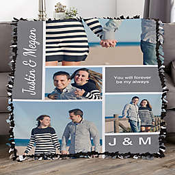Family Love Photo Collage Personalized 50-Inch x 60-Inch Tie Photo Blanket