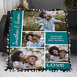 Romantic Love Photo Collage Personalized 50-Inch x 60-Inch Tie Photo Blanket