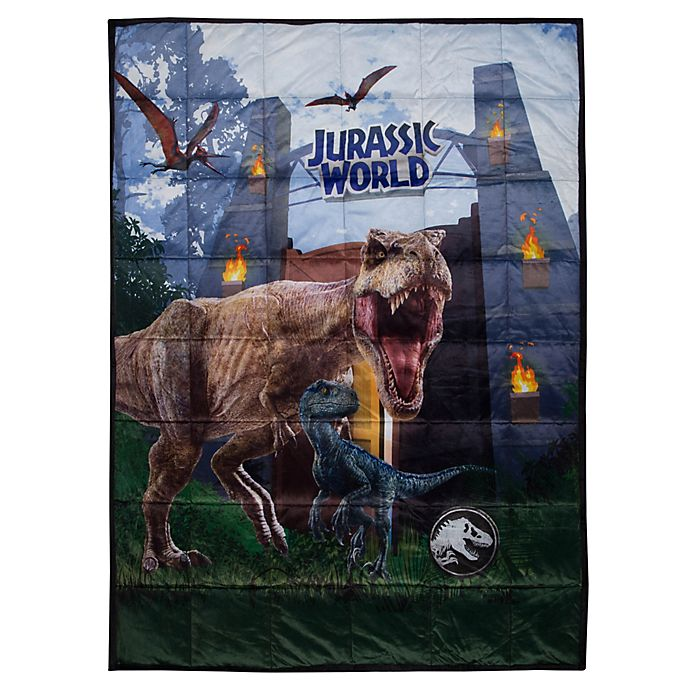 Alternate image 1 for Jurassic World Reversible 36-Inch x 48-Inch Weighted Blanket in Grey/Black