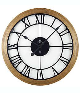 Reloj de pared rústico Bee & Willow™ Home de madera, 81.28 cm en café/negro