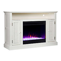 Southern Enterprises Antebellum Media Stand Color Changing Electric Fireplace with Storage in White