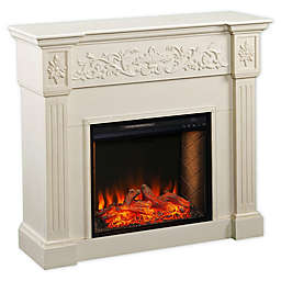 Southern Enterprises Calvert Carved Alexa-Enabled Media Stand Electric Fireplace