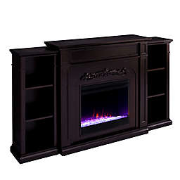 Southern Enterprises Chantilly Color Changing Electric Fireplace w/Bookcase in Espresso
