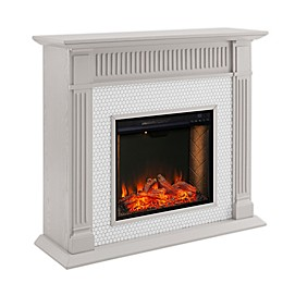Southern Enterprises© Chessing Penny Tiled Electric Fireplace in Grey