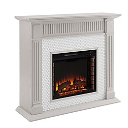 Southern Enterprises© Chessing Penny Tiled Alexa- Enabled Electric Fireplace in Grey