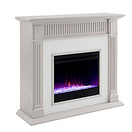 Southern Enterprises© Chessing Penny Tiled Color Changing Electric Fireplace in Grey