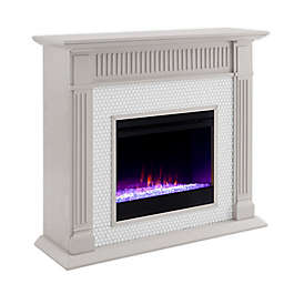 Southern Enterprises Chessing Penny Tiled Color Changing Electric Fireplace in Grey