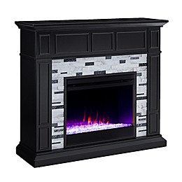 Southern Enterprises© Drovling Color Changing Marble Electric Fireplace in Black