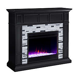 Southern Enterprises Drovling Color Changing Marble Electric Fireplace in Black