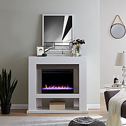 Southern Enterprises© Lirrington Electric Fireplace Collection in White/Stainless Steel