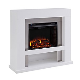 Southern Enterprises© Lirrington Electric Fireplace in White/Stainless Steel