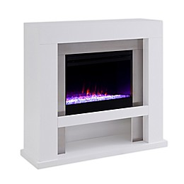 Southern Enterprises© Lirrington Color Changing Electric Fireplace in White/Stainless Steel
