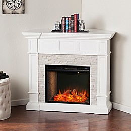 Southern Enterprises© Merrimack Corner Convertible Faux Stone Electric Fireplace