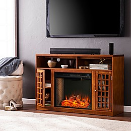Southern Enterprises© Narita Media Stand Electric Fireplace Collection in Glazed Pine