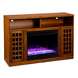 Southern Enterprises Narita Color Changing Media Stand Electric Fireplace in Glazed Pine
