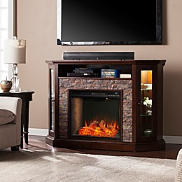 Southern Enterprises© Redden Corner Convertible Electric Fireplace with Storage Collection