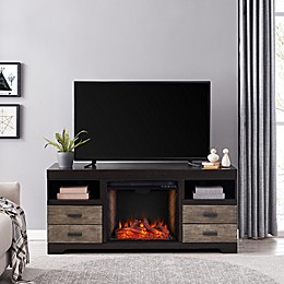 Southern Enterprises© Shroplynn Media Console Electric Fireplace Collection in Ebony