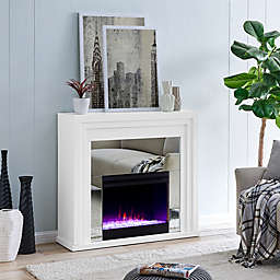 Southern Enterprises© Stadderley Mirrored Electric Fireplace in White
