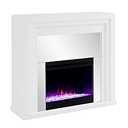 Southern Enterprises© Stadderley Color Changing Mirrored Electric Fireplace in White