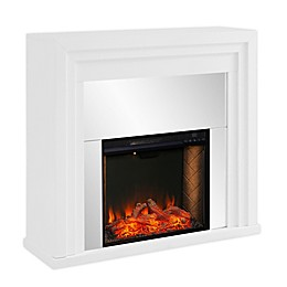 Southern Enterprises© Stadderley Alexa-Enabled Mirrored Electric Fireplace in White