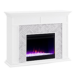 Southern Enterprises© Torlington Marble Electric Fireplace Collection in White/Grey