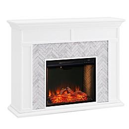 Southern Enterprises© Torlington Marble Electric Fireplace in White/Grey