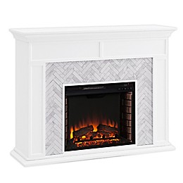Southern Enterprises© Torlington Alexa-Enabled Marble Electric Fireplace in White/Grey