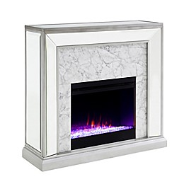 Southern Enterprises© Trandling Faux Stone Mirrored Electric Fireplace Collection in Silver