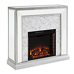 Southern Enterprises© Trandling Faux Stone Mirrored Electric Fireplace in Silver