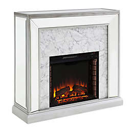 Southern Enterprises Trandling Faux Stone Mirrored Electric Fireplace in Silver